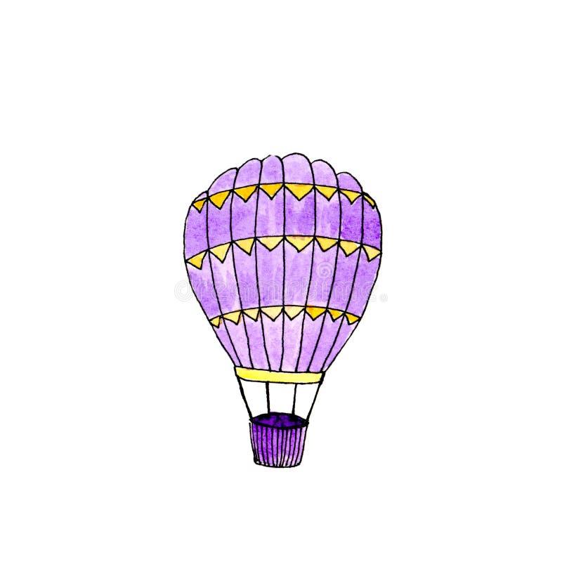 Bal?o de ar quente violeta isolado aquarela ilustração royalty free