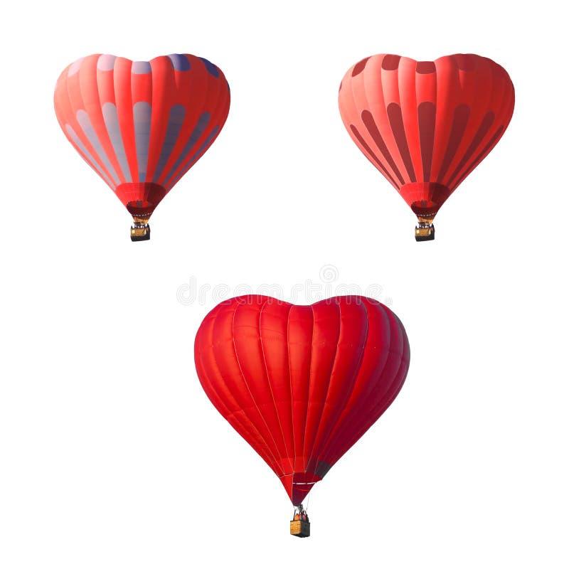 Balão de ar vermelho na forma de um coração isolado em um fundo branco foto de stock royalty free