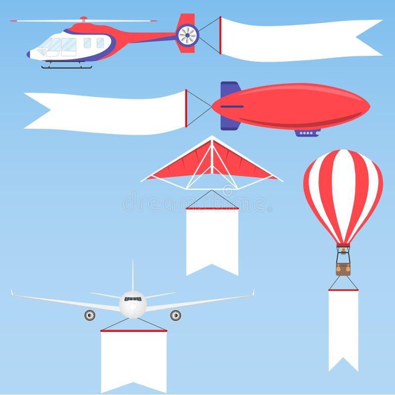 Balão do avião, dos planos, do biplano e de ar quente ilustração royalty free