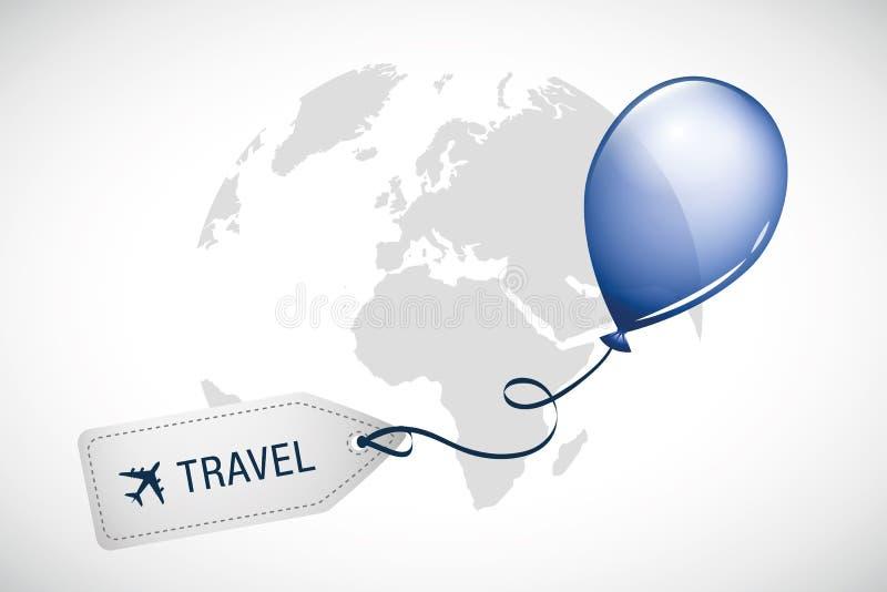 Balão do azul da etiqueta do curso em todo o mundo ilustração stock