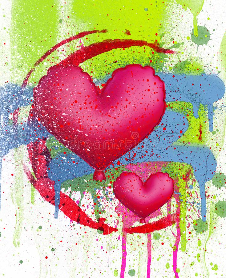 Balão do coração no fundo da pintura à pistola, ilustração royalty free