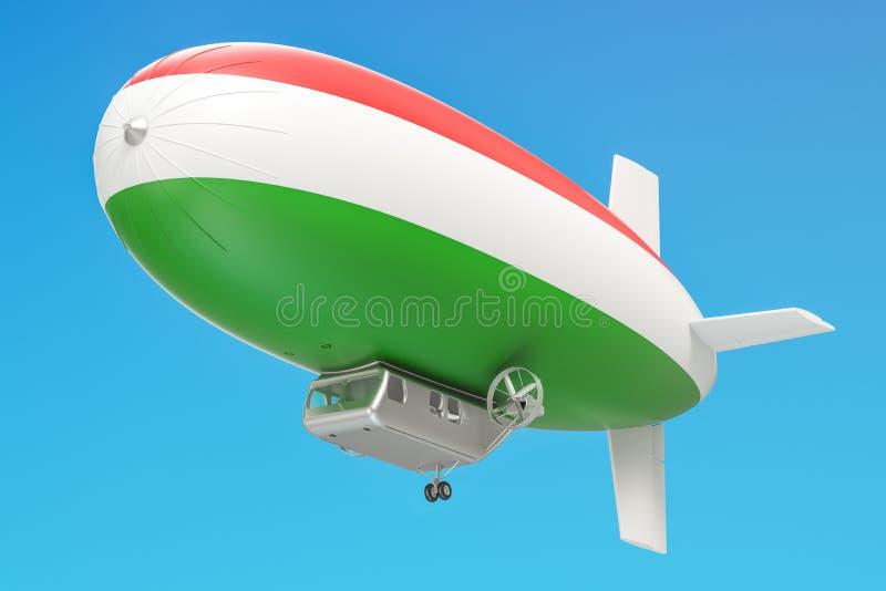 Balão do dirigível ou de dirigible com bandeira húngara, rendição 3D ilustração do vetor