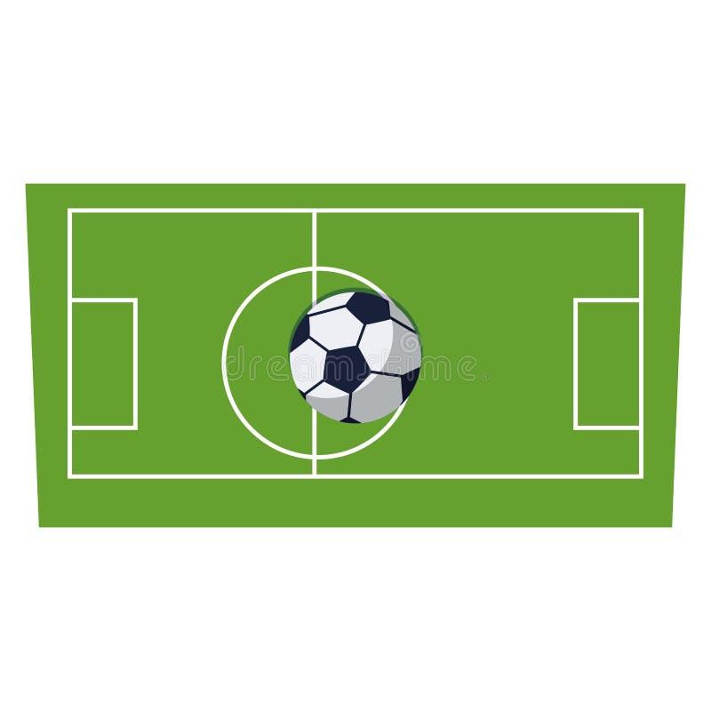 Balão do futebol do futebol no tribunal ilustração royalty free