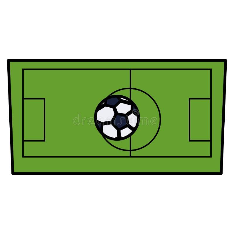 Balão do futebol do futebol no tribunal ilustração stock
