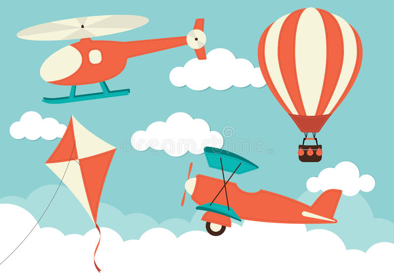 Balão do helicóptero, do plano, do papagaio & de ar quente ilustração do vetor