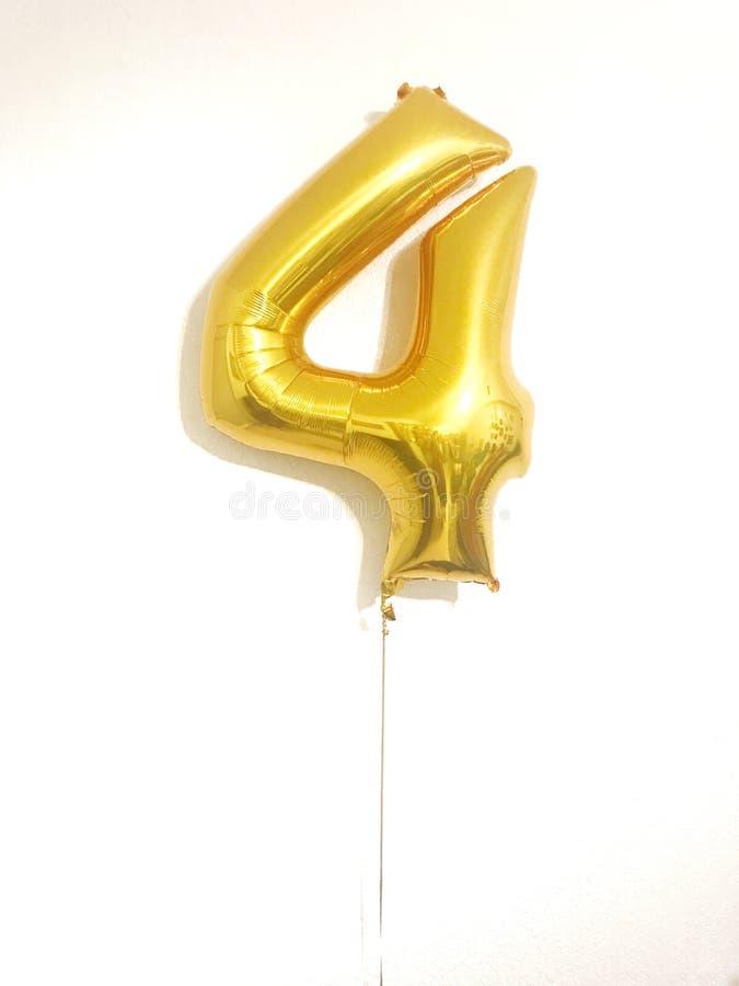 Balão do número quatro imagem de stock