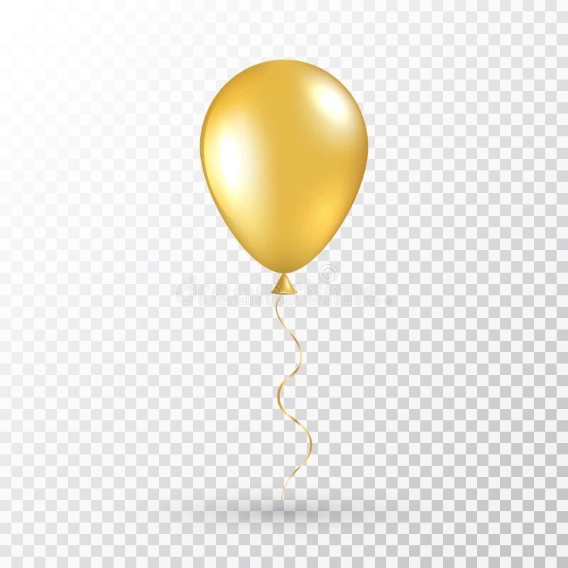 Balão do ouro no fundo transparente Baloon realístico do ar para o partido, Natal, aniversário, dia de Valentim, o dia das mulher ilustração do vetor