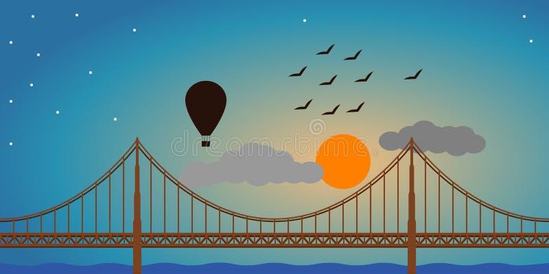 Balão do por do sol da ponte fotos de stock royalty free