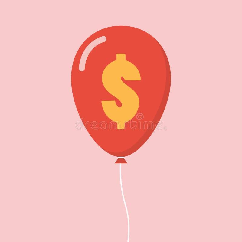 Balão do sinal de dólar ilustração royalty free