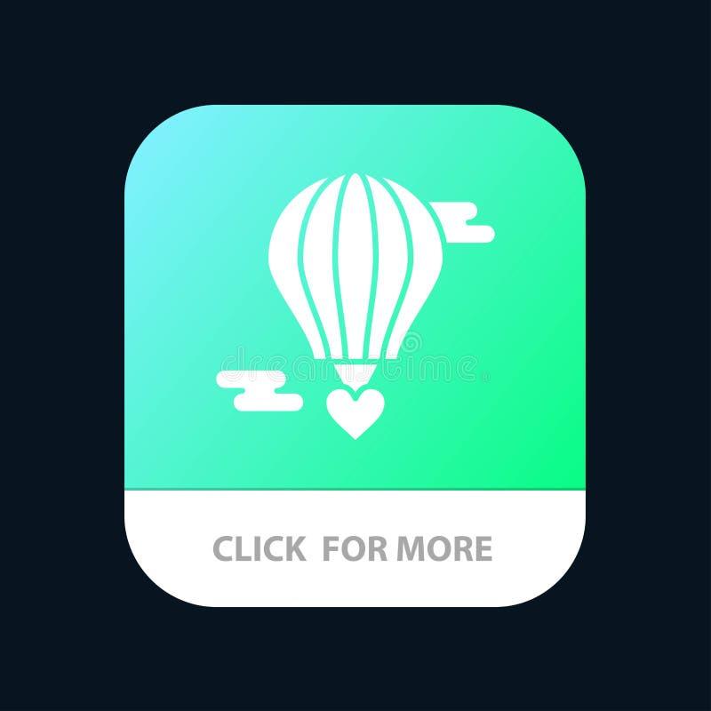 Balão do voo, balão quente, amor, Valentine Mobile App Button Android e do Glyph do IOS versão ilustração stock