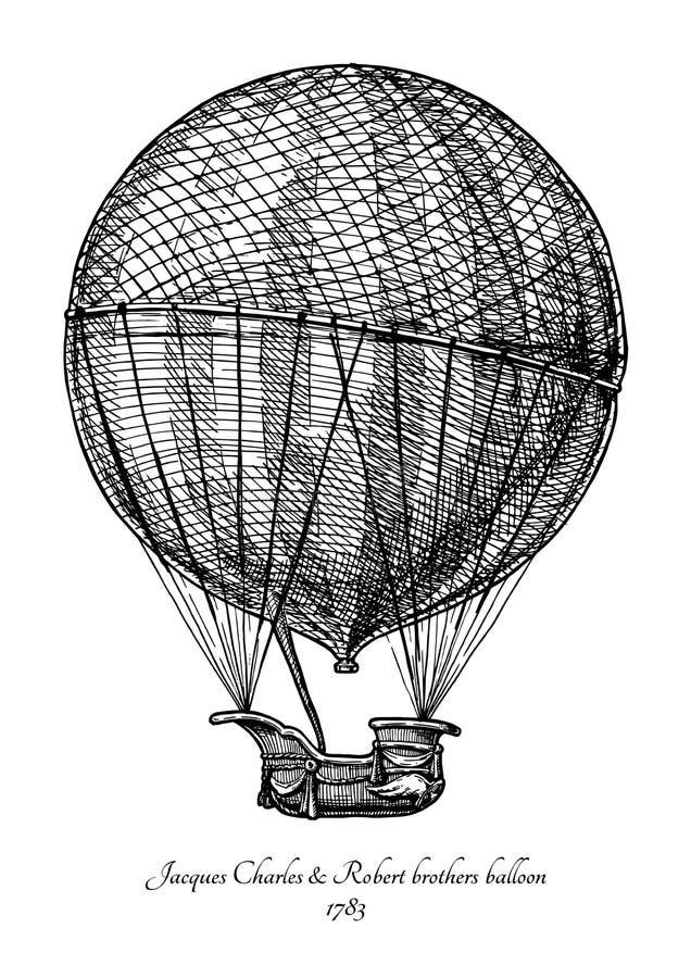 Balão dos irmãos de Charles & de Robert ilustração royalty free