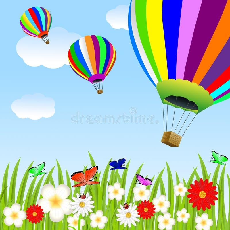 Balão e clareira floral ilustração do vetor