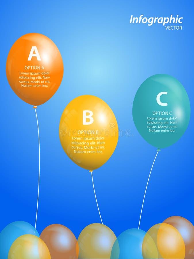 Balão infographic no fundo azul ilustração royalty free