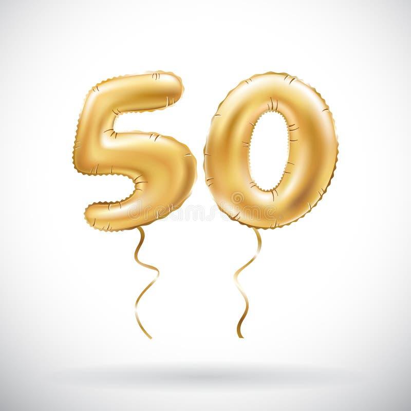 Balão metálico do número 50 do vetor cinqüênta dourados Balões dourados da decoração do partido Sinal do aniversário para o feria ilustração stock