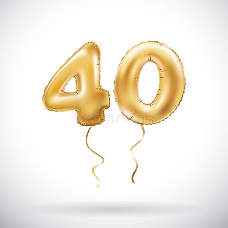 Balão metálico do número 40 do vetor quarenta dourados Balões dourados da decoração do partido Sinal do aniversário para o feriad ilustração stock