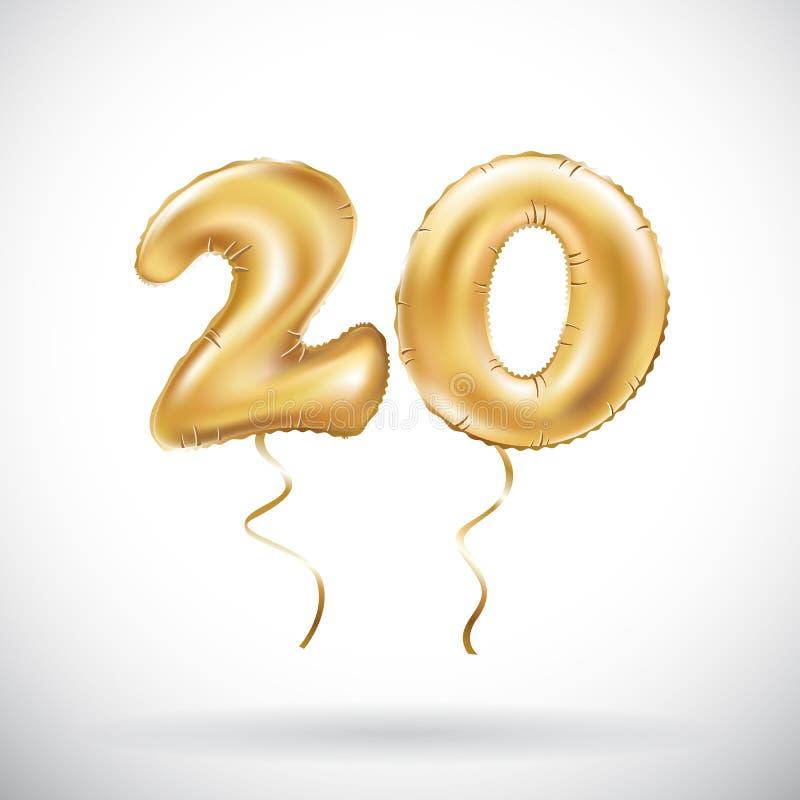 Balão metálico do número 20 do vetor vinte dourados Balões dourados da decoração do partido Sinal do aniversário para o feriado f ilustração do vetor