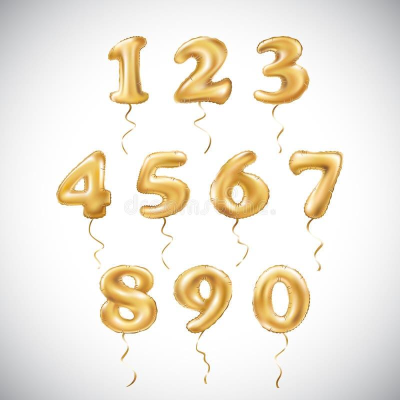 Balão metálico do número dourado do vetor Balões dourados da decoração do partido Sinal do aniversário para o feriado feliz, cele fotografia de stock