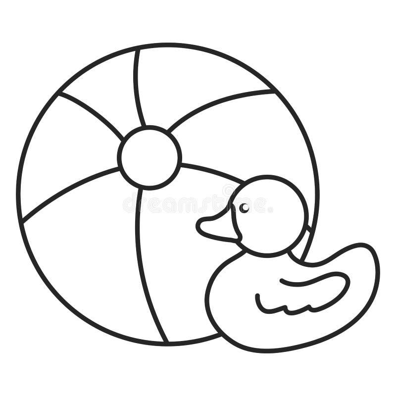 Balão plástico e brinquedos ducky ilustração stock