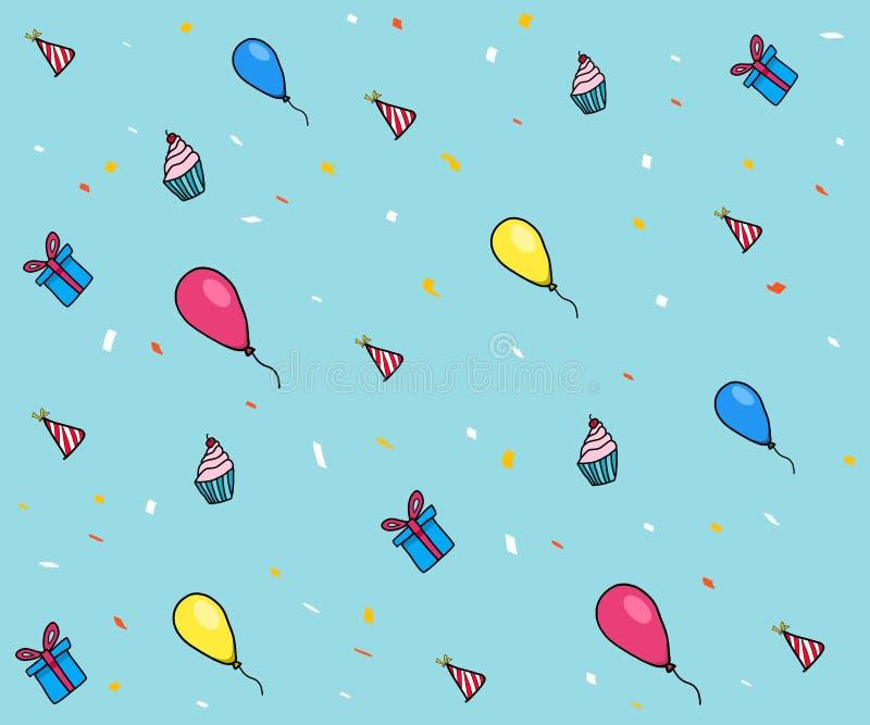 Balão, presente, chapéu do partido e teste padrão do queque ilustração royalty free