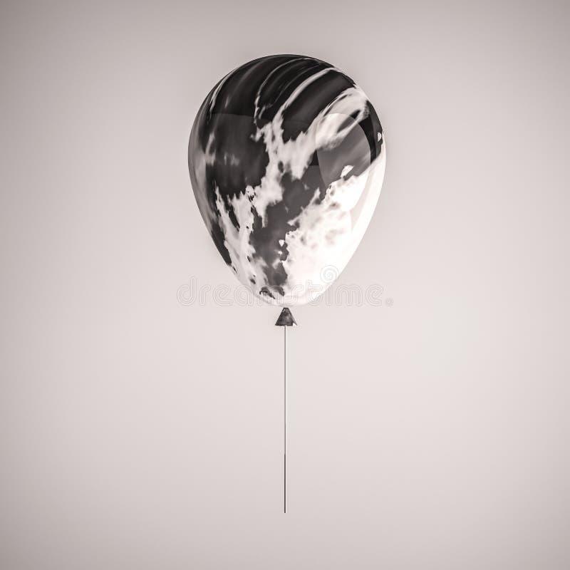 Balão realístico preto e branco lustroso do mármore 3D na vara para o partido, os eventos, a apresentação ou a outra bandeira da  ilustração do vetor