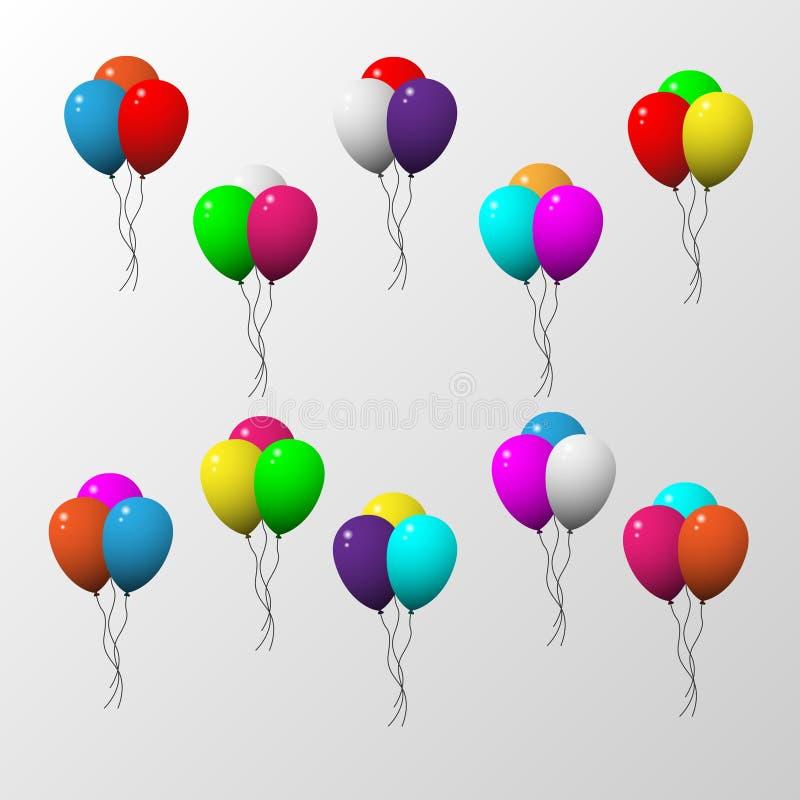 Balão três colorido ajustado com fundo cinzento ilustração royalty free