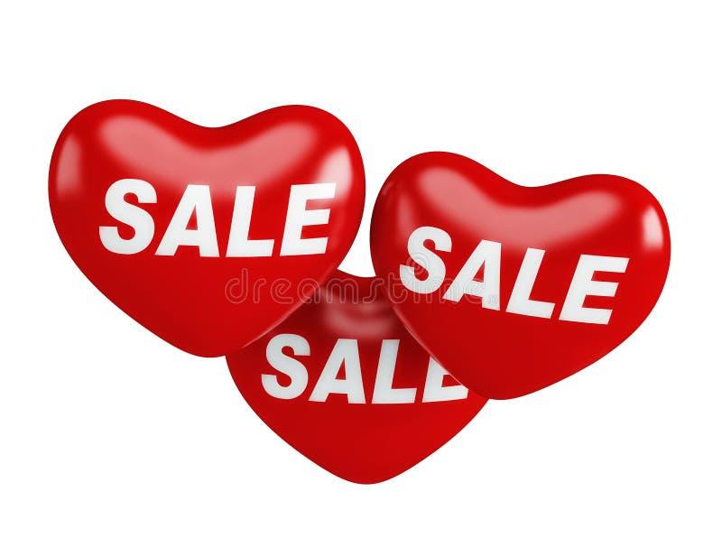 Balão vermelho de suspensão realístico da venda de três corações para a promoção do dia de Valentim no fundo branco 3d rendem ilustração stock