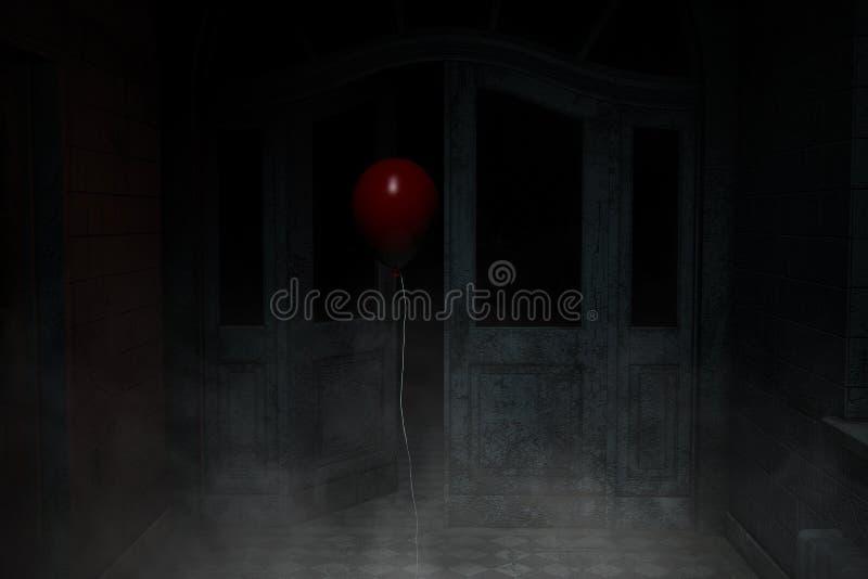 Balão vermelho na casa assombrada ilustração stock