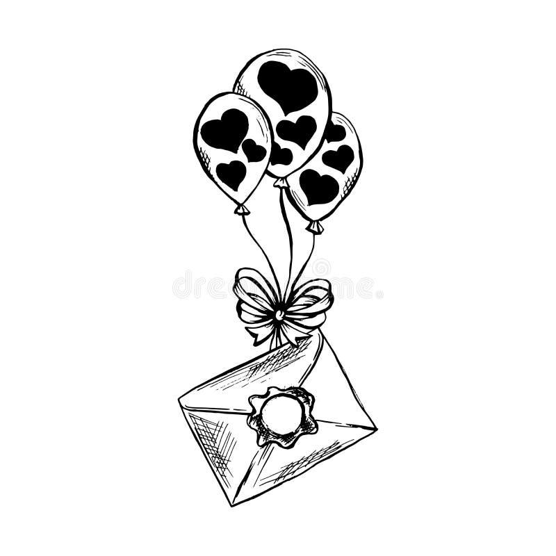 Balón de aire con la letra o correo en estilo del bosquejo Ejemplo aislado vector dibujado mano stock de ilustración