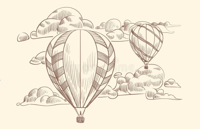 Balón de aire del bosquejo en nubes Viaje del vuelo por los balones de aire con la cesta en cielo nublado Vector de dibujo del vi stock de ilustración