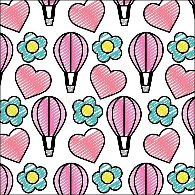 Balón de aire del garabato con el corazón y el fondo de la flor stock de ilustración