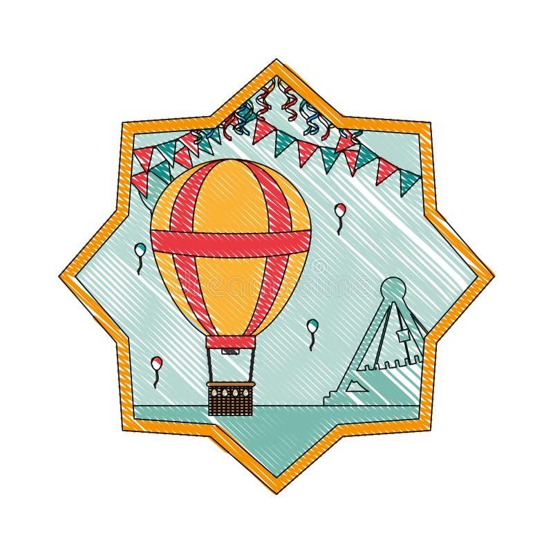 Balón de aire del garabato con las banderas del partido dentro de la estrella ilustración del vector