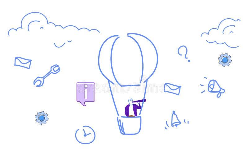 Balón de aire del vuelo del hombre de negocios que mira proyecto acertado de los medios iconos sociales del concepto de la visión stock de ilustración