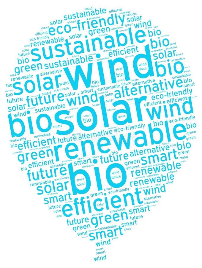Balón de aire ecológico simbólico con la etiqueta sostenible de la energía imagen de archivo libre de regalías