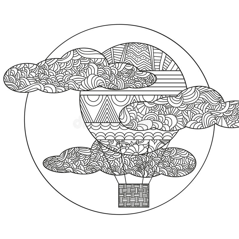 Balón de aire original del garabato stock de ilustración