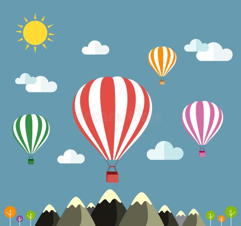 Balón de aire que vuela sobre los iconos de la montaña de viajar ilustración del vector