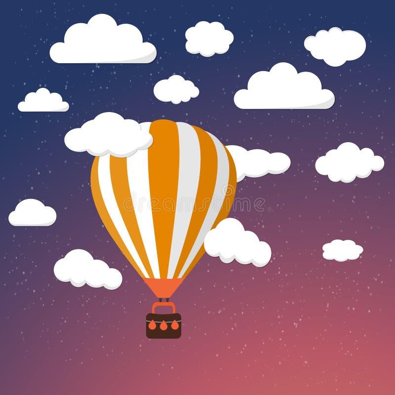 Balón de aire retro de la historieta en fondo del cielo nocturno libre illustration