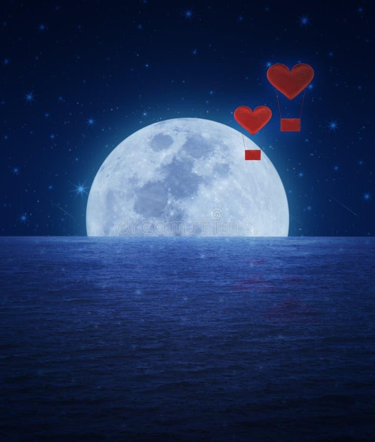 Balón de aire rojo del corazón de la tela en el cielo y la luna de la fantasía stock de ilustración