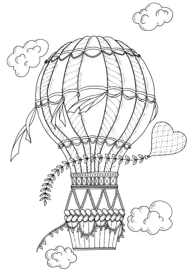 Balón de aire y corazón blancos y negros del garabato stock de ilustración