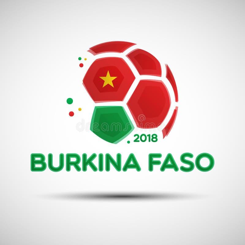 Balón de fútbol abstracto con colores de la bandera nacional de Burkina Faso stock de ilustración