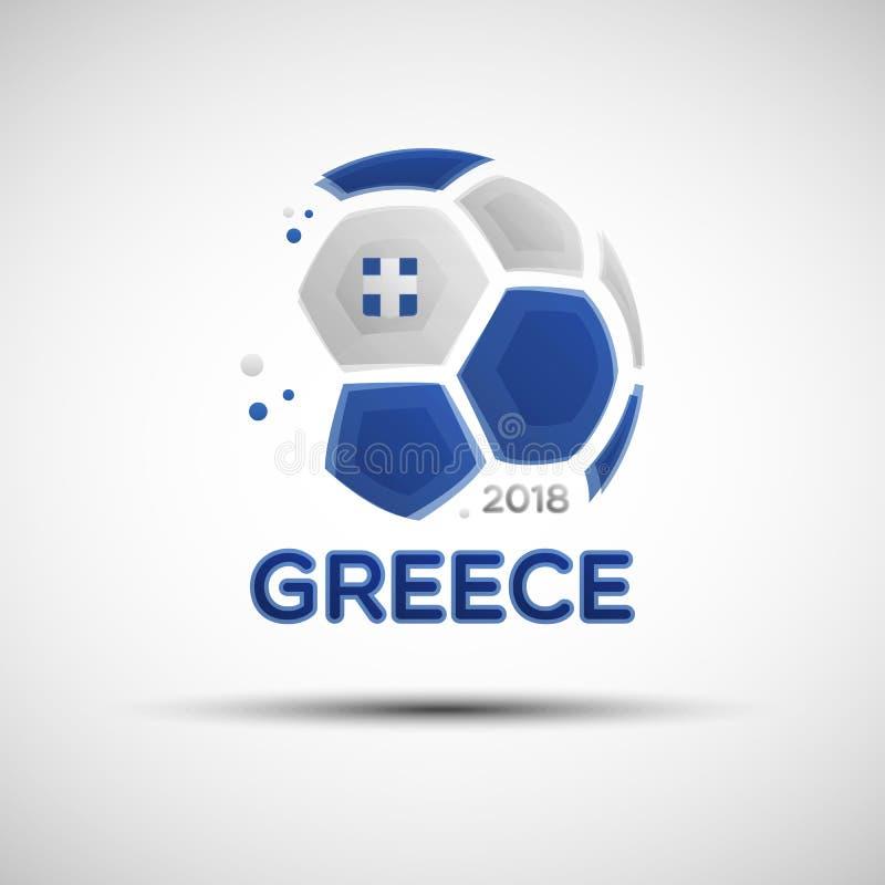Balón de fútbol abstracto con colores de la bandera nacional de Grecia libre illustration