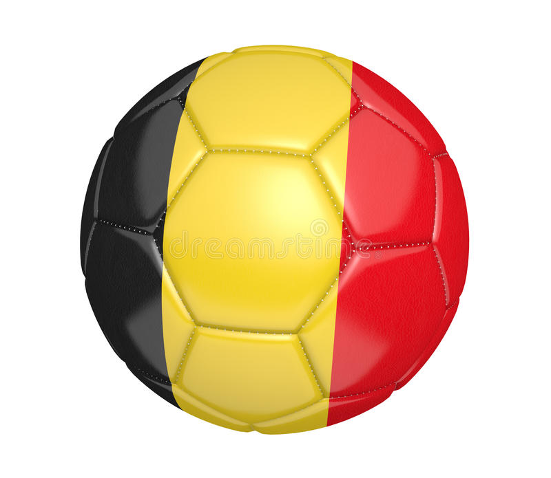 Balón de fútbol aislado, o fútbol, con la bandera de país de Bélgica stock de ilustración