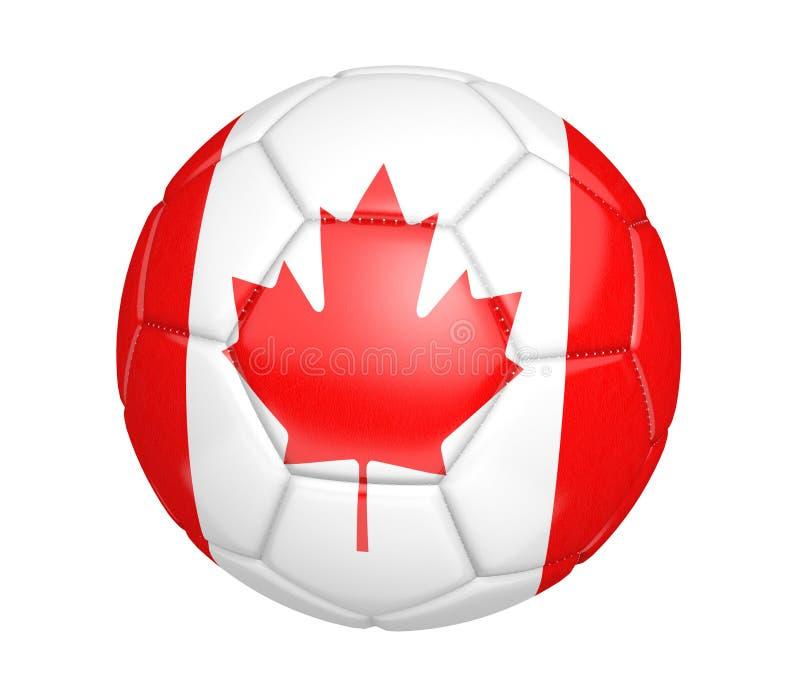 Balón de fútbol aislado, o fútbol, con la bandera de país de Canadá ilustración del vector