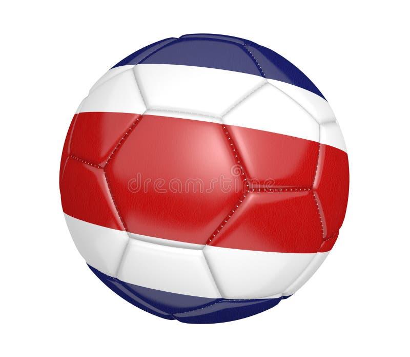 Balón de fútbol aislado, o fútbol, con la bandera de país de Costa Rica ilustración del vector