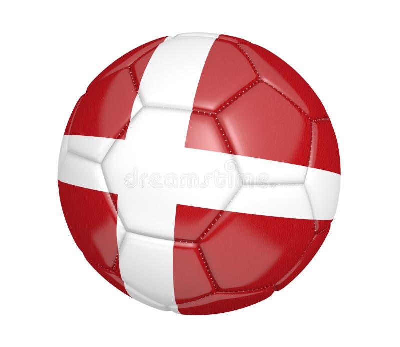 Balón de fútbol aislado, o fútbol, con la bandera de país de Dinamarca ilustración del vector