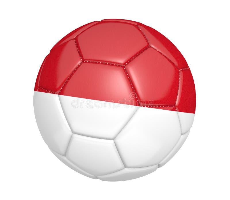Balón de fútbol aislado, o fútbol, con la bandera de país de Indonesia libre illustration