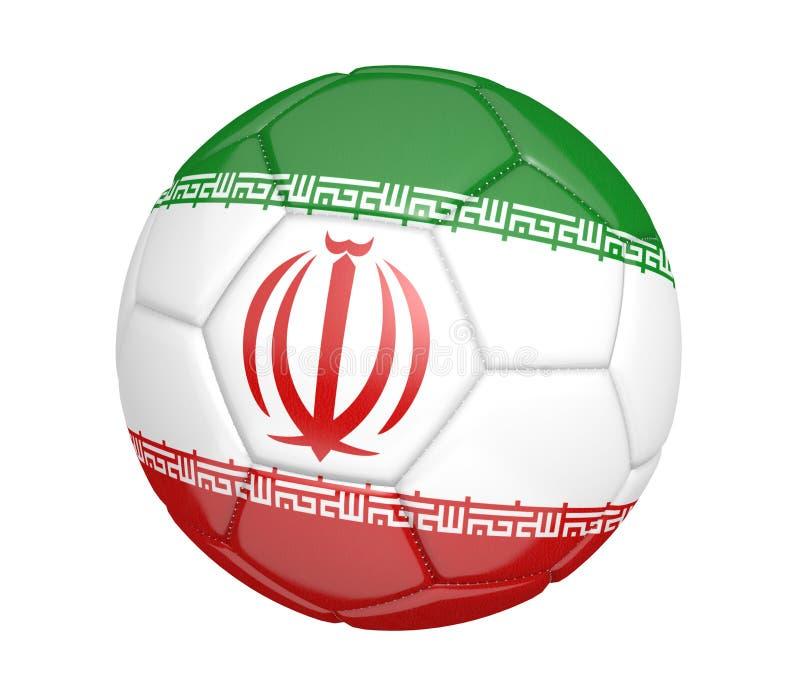 Balón de fútbol aislado, o fútbol, con la bandera de país de Irán ilustración del vector