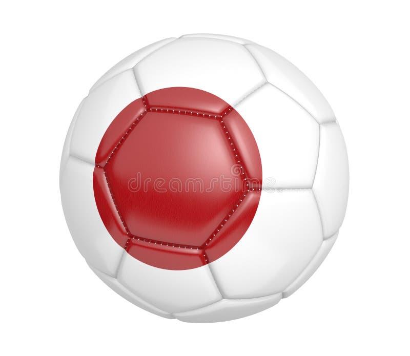 Balón de fútbol aislado, o fútbol, con la bandera de país de Japón stock de ilustración