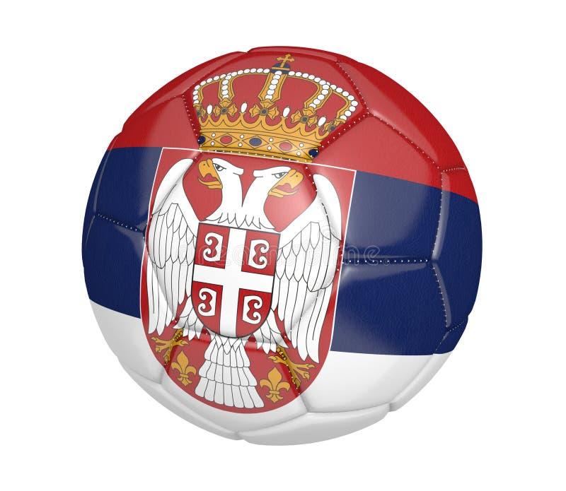 Balón de fútbol aislado, o fútbol, con la bandera de país de Serbia stock de ilustración