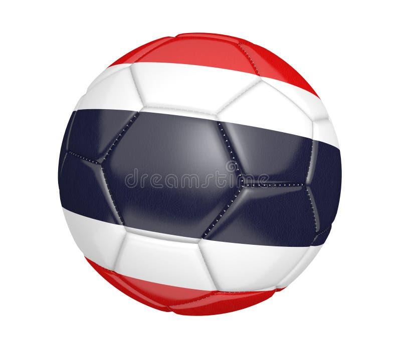 Balón de fútbol aislado, o fútbol, con la bandera de país de Tailandia, representación 3D ilustración del vector