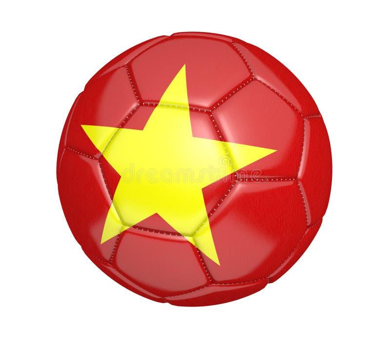 Balón de fútbol aislado, o fútbol, con la bandera de país de Vietnam ilustración del vector